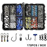 Shaddock Fishing 172pcs/box Fishing Accessories Tackle Box Set, Including Circle Hooks, Treble Hooks, Egg Sinker Weights, Ball Bearing Swivels, Sinker Slides, Stainless Steel Split Rings