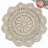 Creative Linens 6PCS 12'' Round Crochet Lace Doily Beige 100% Cotton Handmade, Set of 6 Pieces
