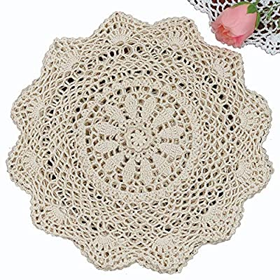 "6PCS 12"" Round Crochet Lace Doily BEIGE 100% Cotton Handmade, Set of 6 Pieces - Beige Crochet Lace Doily Set, handmade 12"" round each piece, Set of 6 pieces Matching crocheted sunflower daisy placemats, table runners, napkins, tablecloths, kitchen curtains and doilies in different sizes available - placemats, kitchen-dining-room-table-linens, kitchen-dining-room - 61Jns24dkaL. SS400  -"