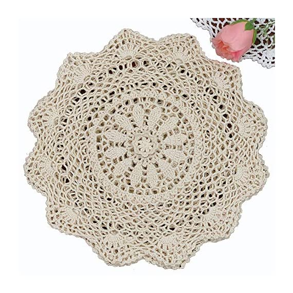 "Creative Linens 6PCS 12"" Round Crochet Lace Doily Beige 100% Cotton Handmade, Set of 6 Pieces - Beige Crochet Lace Doily Set, handmade 12"" round each piece, Set of 6 pieces Matching crocheted sunflower daisy placemats, table runners, napkins, center-pieces, tablecloths, kitchen curtains and doilies in different sizes available - placemats, kitchen-dining-room-table-linens, kitchen-dining-room - 61Jns24dkaL. SS570  -"