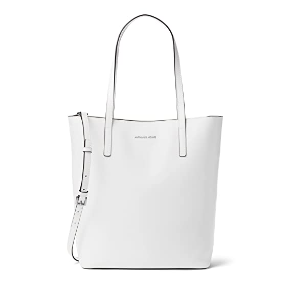 36e3d66e2071 MICHAEL Michael Kors Emry Large North South Leather Tote in Optic White:  Amazon.co.uk: Clothing