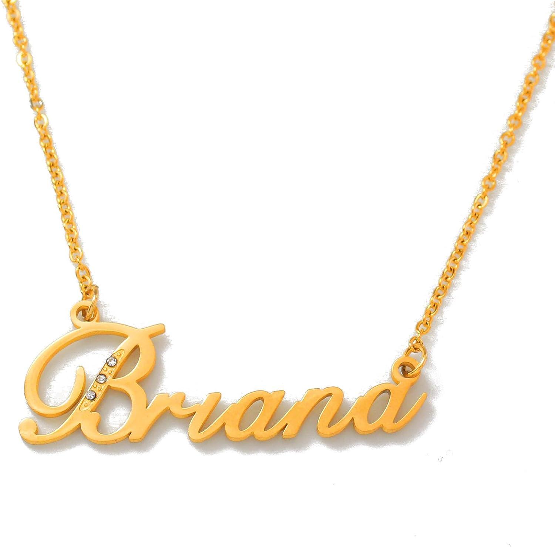 Crystals Zacria Italic Name Necklace Antonella Gold Tone Incl