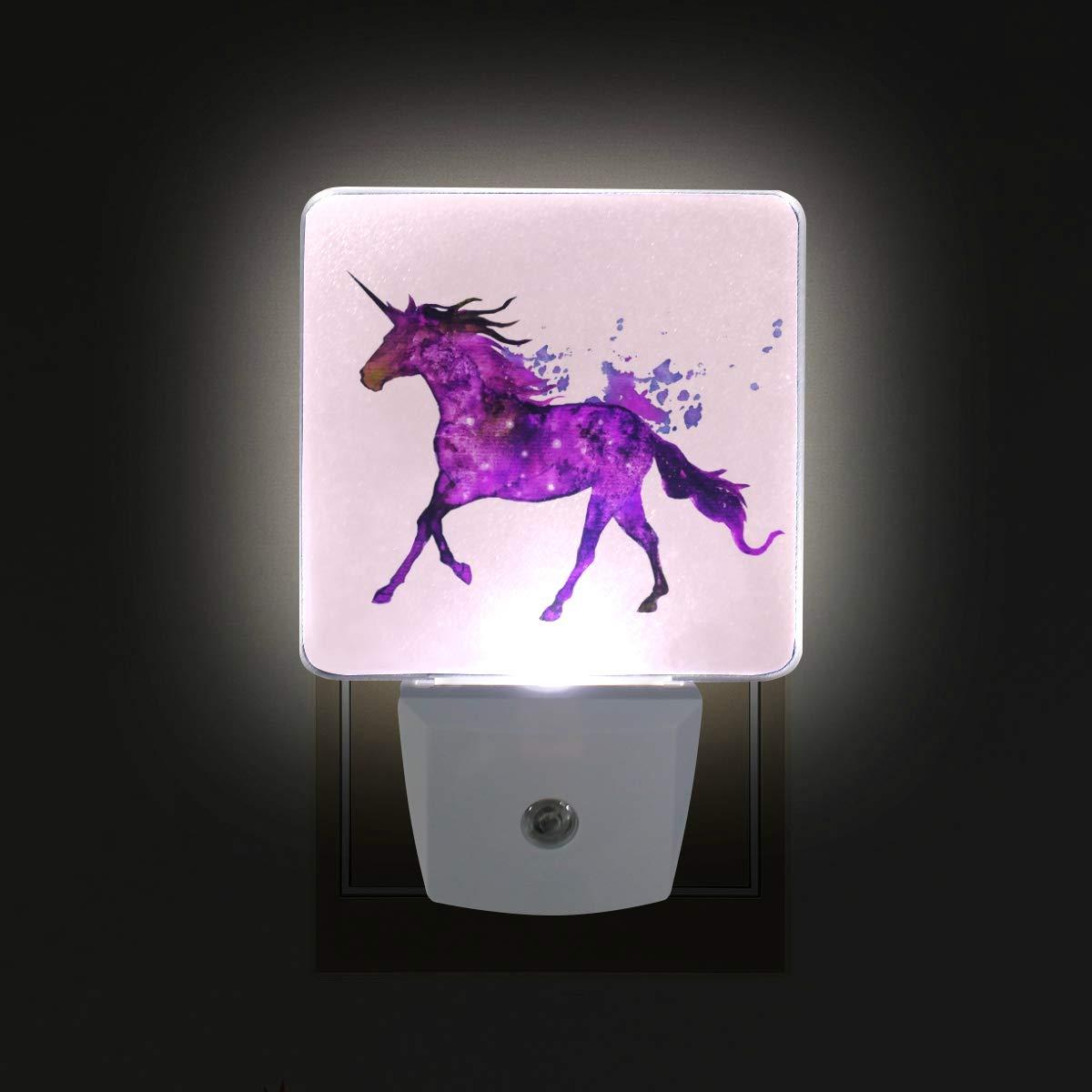 Brighter drawing purple unicorn led sensor night light for kidsadults bedroom dusk to dawn night lights lamp perfect for hallway dining room amazon