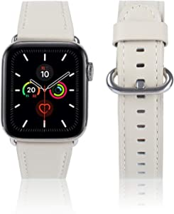 Compatible With iWatch Band 38mm 40mm 42mm 44mm, Top Grain Leather Band for iWatch SE & Series 6,Series 5,Series 4,Series 3,Series 2,Series 1,Edition(Off-white + silver buckle, 38mm 40mm)