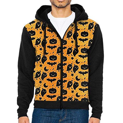 Men's Halloween Pumpkins Star Casual Pocket Sweatshirt Zipper Hoodie Crew Hooded Shirts Athletic -