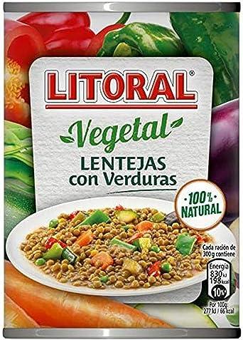 LITORAL Vegetal Lentejas con Verduras - Plato Preparado Sin Gluten - Paquete de 10x430g - Total: 4.3kg