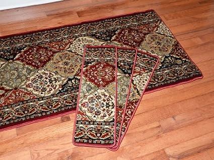 Dean Premium Carpet Stair Treads   Panel Kerman 31u0026quot;W Set Of 13 Plus A
