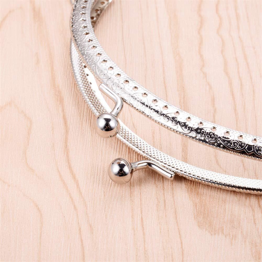 7 pcs Metal Purse Frame Coin Bag Kiss Clasp Lock DIY Sewing Craft Squared Design Sliver 6.5-8.1