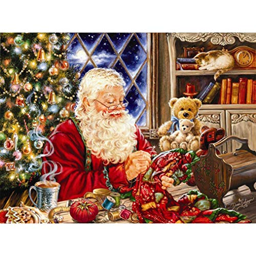 Santa Claus Wall (DIY 5D Diamond Painting Kit, Ankola Partial Diamond Cross Stitch Christmas Santa Claus Embroidery Art Craft for Canvas Wall Decor (40cmx30cm, H))