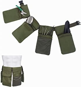 """Canvas Tool Belt For Women, Garden Single Side Tool Apron, Adjustable Utility Tool Pouch with Belt for Men for Home, Garden, RV, Cleaning, Waist Length to 49"""""""
