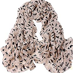 Gilroy Women's Cat Kitten Pattern Chiffon Scarf Graffiti Style Shawl - Pink