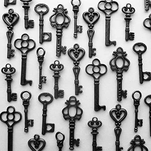 48PCS Antique Mini Collection Skeleton Keys, Vintage Steam Punk Keys, Castle Dungeon Pirate Keys for Birthday Party Favors, Mini Treasure Toy Gifts (Black)]()