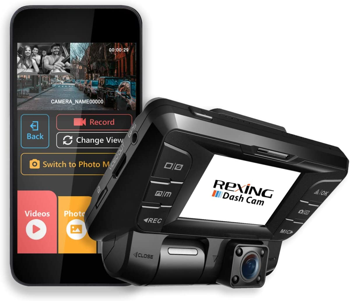 Rexing V2 Front Back Dual Camera 1080p Full HD Wi-Fi Ultra Wide Angle LCD Screen Infrared Night Vision Car, Uber, Taxi Dash Cam