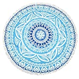 Lvtree Round Tapestry Spread Hippy Bohemian Mandala Roundie for Beach Towel, Tablecloth, Yoga Mat, Meditation, Picnic Table Cover - 59 inches, Hot Blue