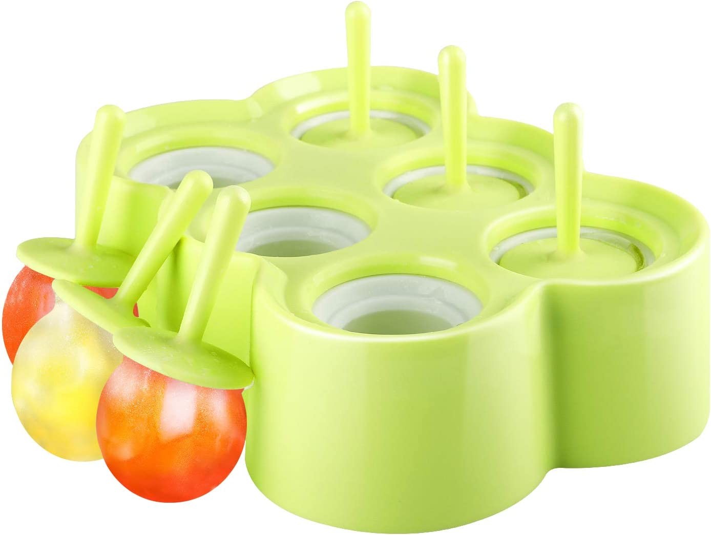 Nuovoware Ice Pop Molds, [Cavity of 6] Premium Silicone Popsicle Makers Ice Pop Makers Rectangle Ice Cream Tray Holders, Family DIY Popsicle Molds, BPA Free, Kitchen Gadget, Green