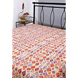 Queen Bedspreads Cotton White Printed Geometric Double Bedsheets By Rajrang