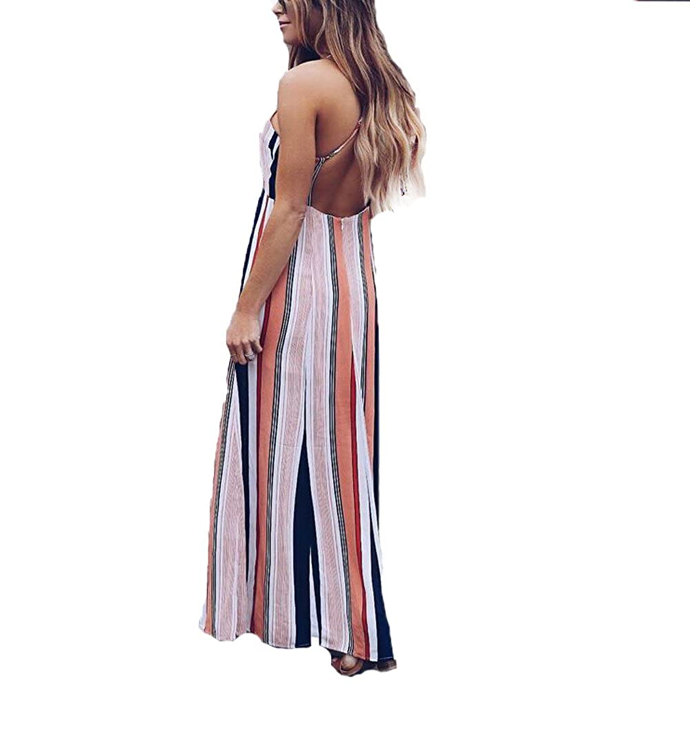 709b55f7ae5 YT couple Womens Stripe Open Fork Long Maxi Dress Sleeveless Evening Party  Summer Beach Ladies Formal Wedding Sexy Dress Sundress (As Picture Show