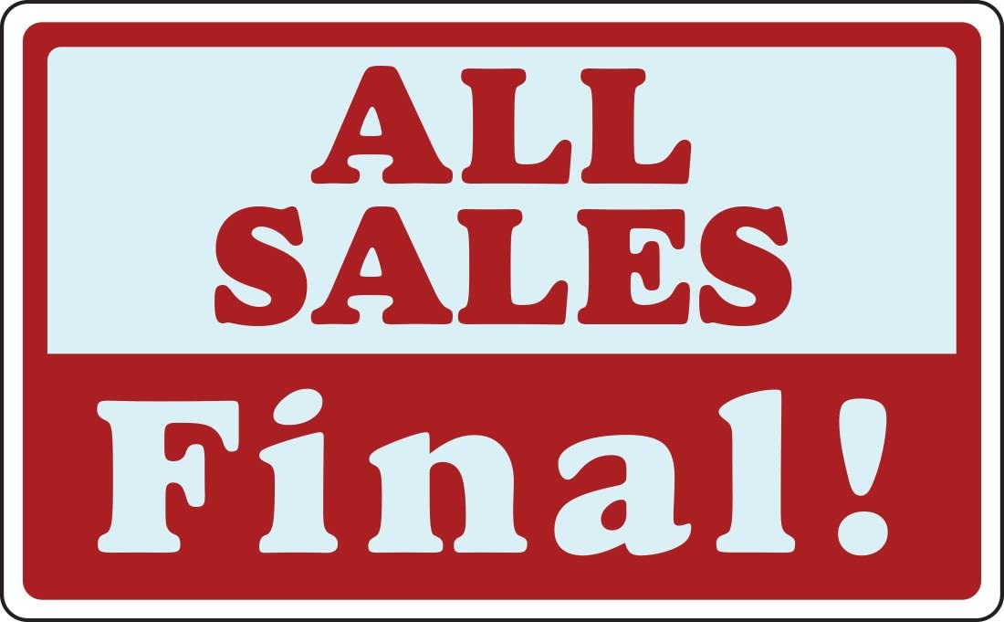 ALL SALES FINAL Business Store Sign Discount Promotion Message Plastic Signs