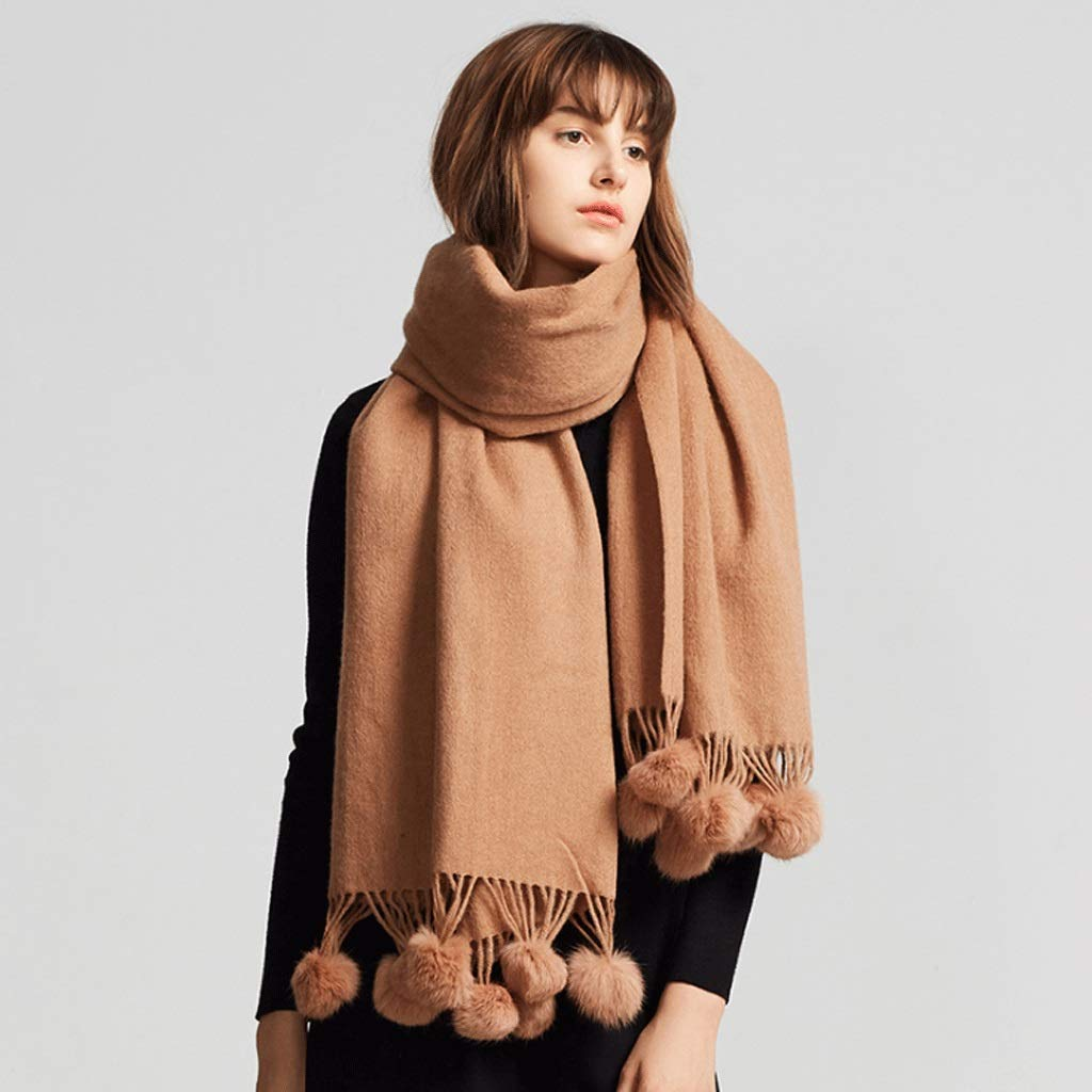 ENYI Winter Ladies Solid Color Wool Scarf Fashion Autumn and Winter Thick Warm Shawl Dual Purpose (Color : A, Size : 70x180cm) by ENYI