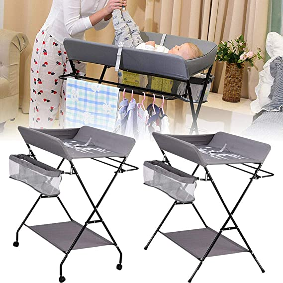 OUKANING 25Kg Changing Table Changing Table Folding Baby Room Baby Changing Mat 3 Compartments