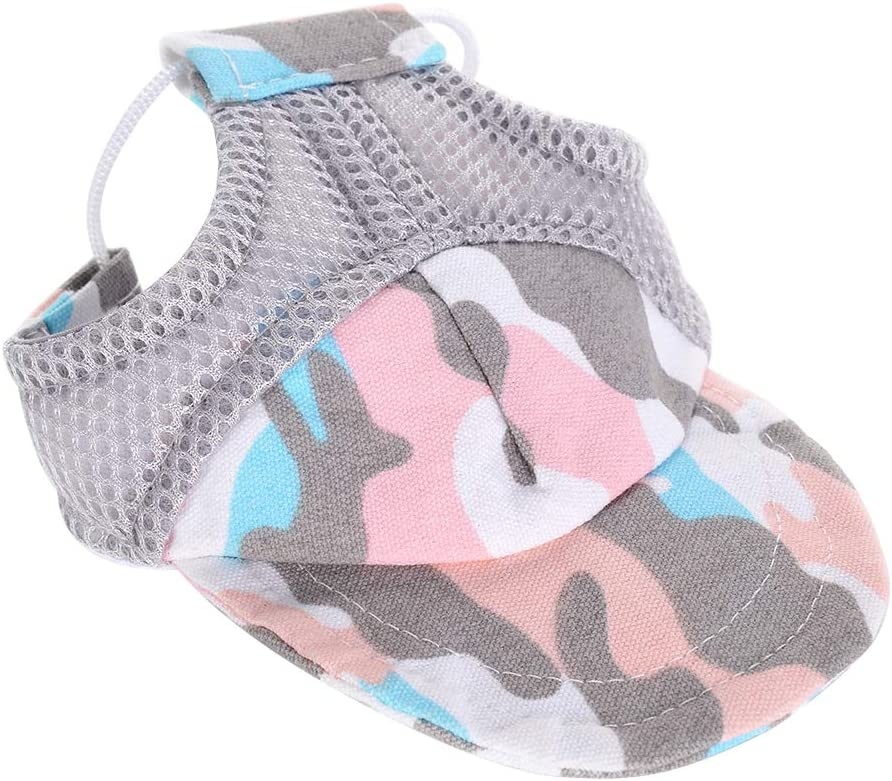 POPETPOP Dog Hat Summer-Dog Baseball Cap//Dogs Sport Hat//Visor Cap Camouflage Cowboy Sun Hat with Ear Holes and Chin Strap for Dogs and Cats Camouflage Pink S