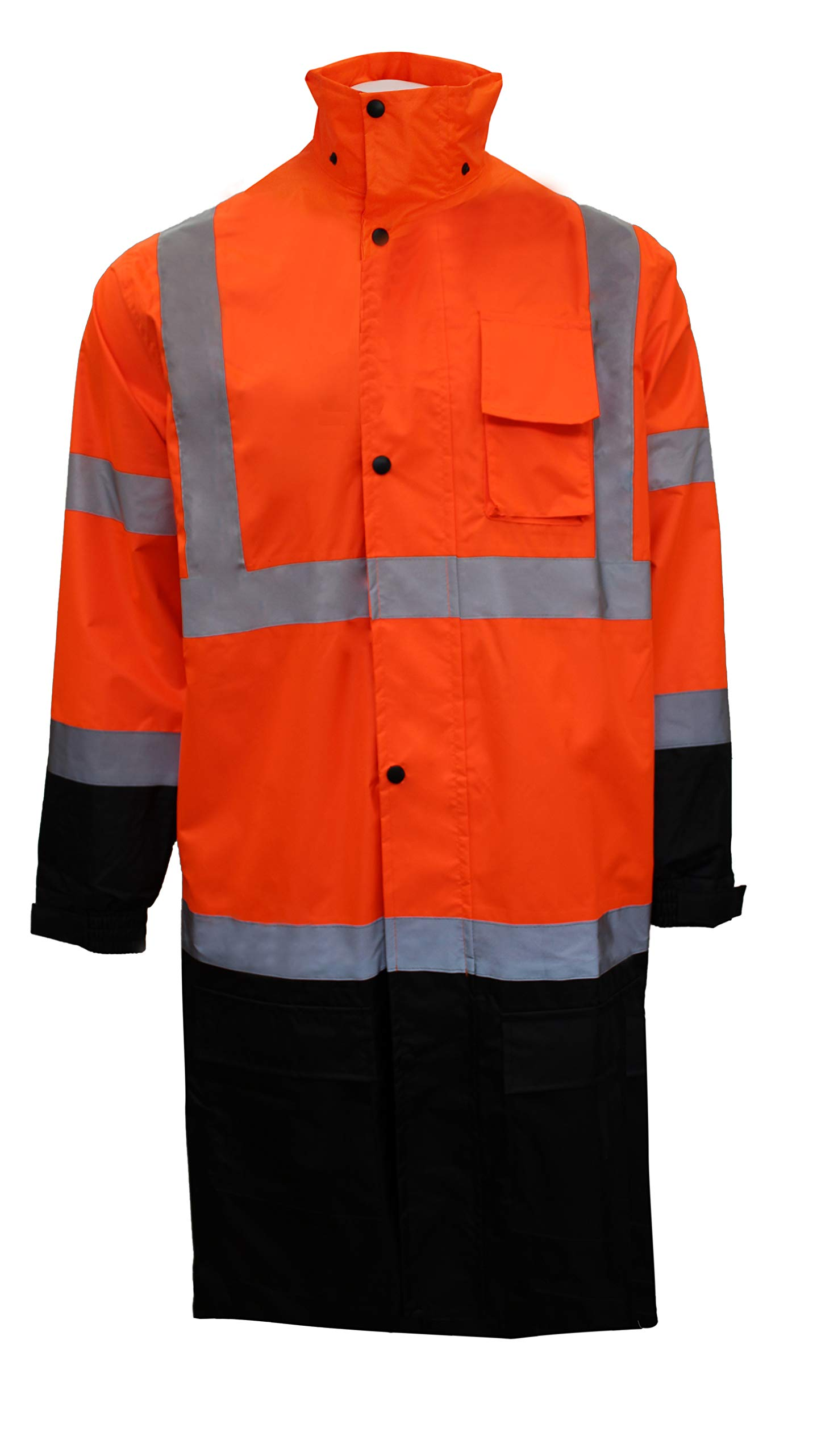 RK Safety RC-CLA3-OR44 Class 3 Rainwear Reflective Hi-Viz Black Bottom Long Rain Coat (Large, Orange) by New York Hi-Viz Workwear