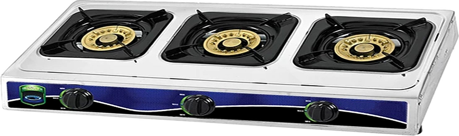 Unique Imports #1 Heavy Duty Three Burner Propane Gas Stove Outdoor Cooking Butane Gas Stove Full Stainless Steel Body with Electronic Ignition