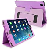Snugg Leather Flip Stand Case for Apple iPad Mini and Mini 2 with Retina - Purple