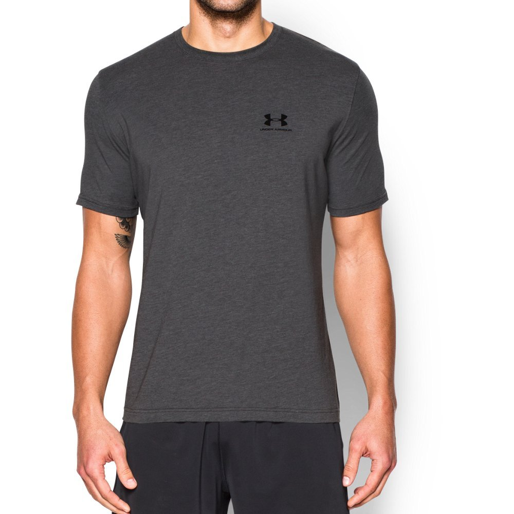 Under Armour Men's Charged Cotton Left Chest Lockup T-Shirt, Carbon Heather /Black, Small