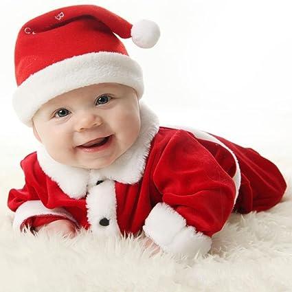 Highdas Navidad Disfraces traje Niños bebés Niñas terciopelo traje de Santa Niños de Santa mameluco del bebé y el sombrero