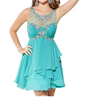 AngelDragon Halter Short Cocktail Rhinestones Chiffon Homecoming Prom Dress UK-4 Custom Made Colour