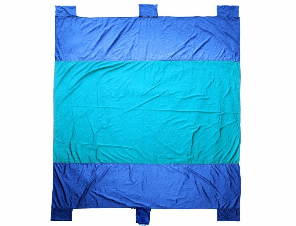 Sand Free Beach Blanket,100% 400T Gird Ripstop Nylon Outdoor Waterproof Picnic Blanket,Oversized 10'X 9' For 7 Adults,Compact-Quick Drying-Lightweight-Durable ,Includes 4 Metal Pegs & 6 Pockets