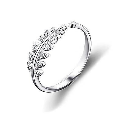 [イーフローラル] E,Floral かわいい 木の葉 ピンキーリング 小粒 ジルコニア 指輪 レディース ファッションリング ホワイトゴールド