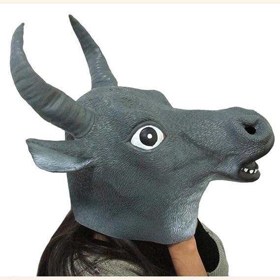 Circlefly Rendimiento de Baile de Disfraces de Halloween Sombreros Mascara Natural apoyos Toro Negro Grande Peluca: Amazon.es: Jardín
