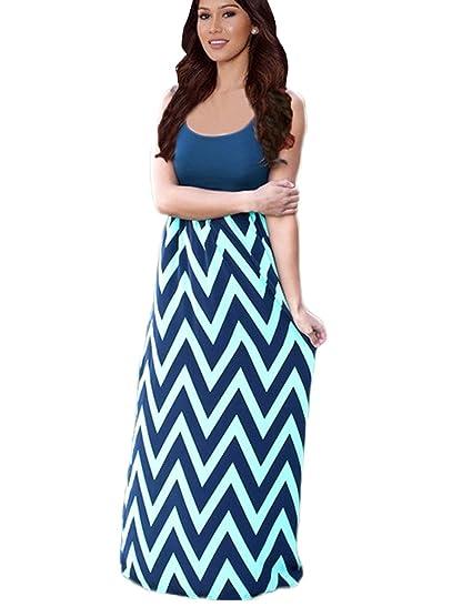 ff6f0fd45e Newfits Womens Striped Zig Zag Scoop Neck Chevron Print Tank Maxi Long  Dress Navy Blue Small
