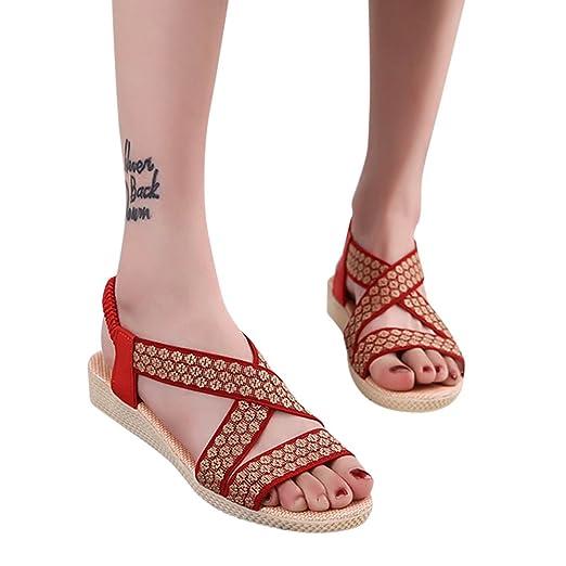 a16617ad8b379 Amazon.com: TIMEMEANS Summer Sandals Womens Clearance Cross Flat ...