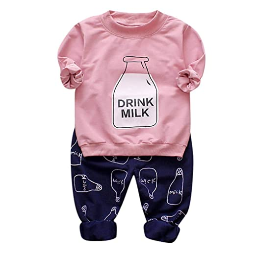 d187cf6e4730 Amazon.com: Outtop(TM) Toddler Children Baby Kids Boy Girls Bottle Print Long  Sleeves Top+Pants Girls Clothes Outfit Sets: Clothing
