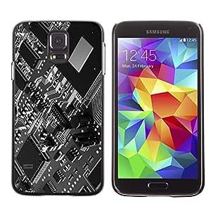 Qstar Arte & diseño plástico duro Fundas Cover Cubre Hard Case Cover para SAMSUNG Galaxy S5 V / i9600 / SM-G900F / SM-G900M / SM-G900A / SM-G900T / SM-G900W8 ( Computer Technology Chip Art Code Programming)