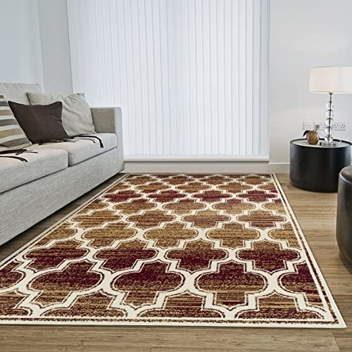 Superior 8mm Pile Height with Jute Backing, Chic Geometric Trellis Pattern, Fashionable and Affordable Woven Rugs, 8 x 10 Rug, Gold