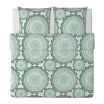Ikea Lyckoax Bettwäscheset Weiß Grün 3 Teilig 240x220 Cm Und 2x