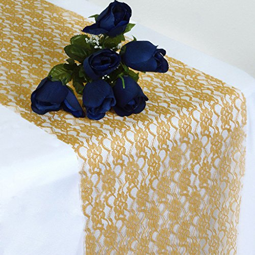 MDS Pack Of 10 Wedding 12 x 108 inch Lace Table Runner For Wedding Banquet Decor table Lace Runner- (Gold Runners For Tables)