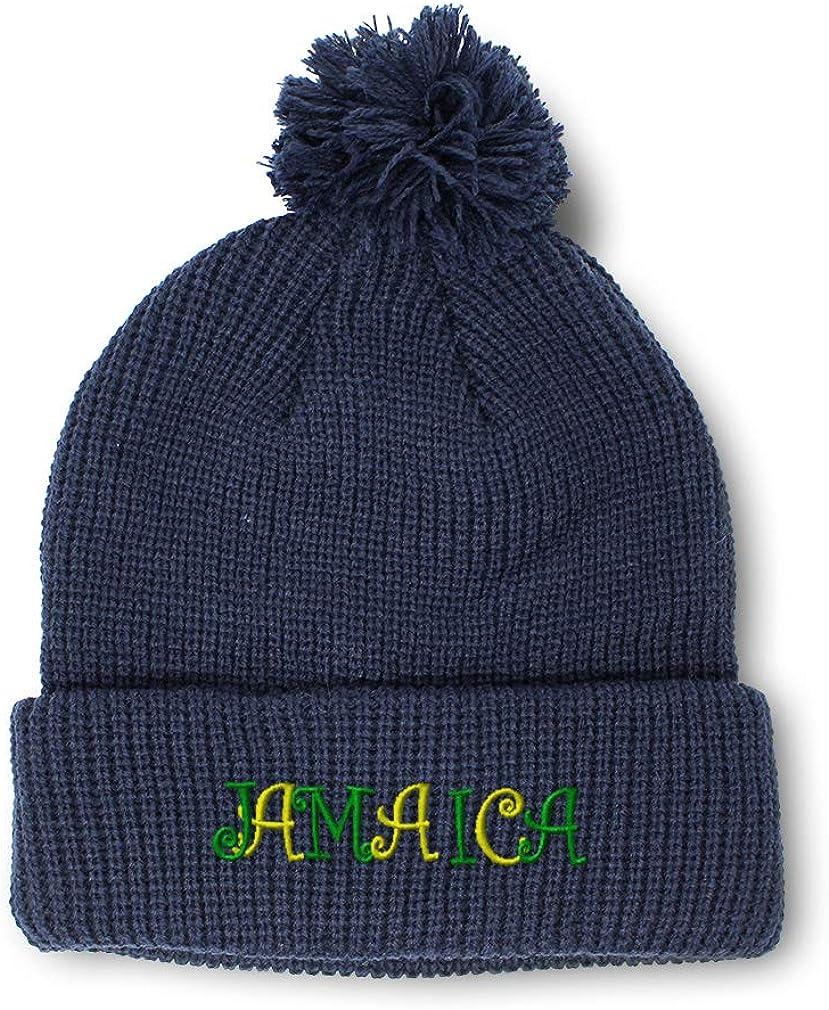 Custom Pom Pom Beanie Jamaica B Embroidery Skull Cap Winter Hat for Men /& Women