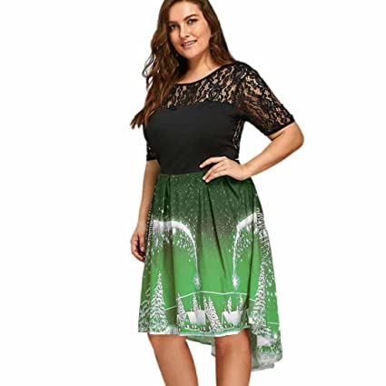 womens plus size sexy christmas party dresses lace short sleeve casual swing dress xl