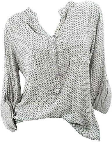 Poachers Camisetas Mujer Verano Anchas Tops Mujer Verano 2019 Camisas Mujer Tallas Grandes Vestir Blusas Mujer Verano 2019 Tallas Grandes Blusas para Mujer Elegantes Verano Manga Larga: Amazon.es: Ropa y accesorios