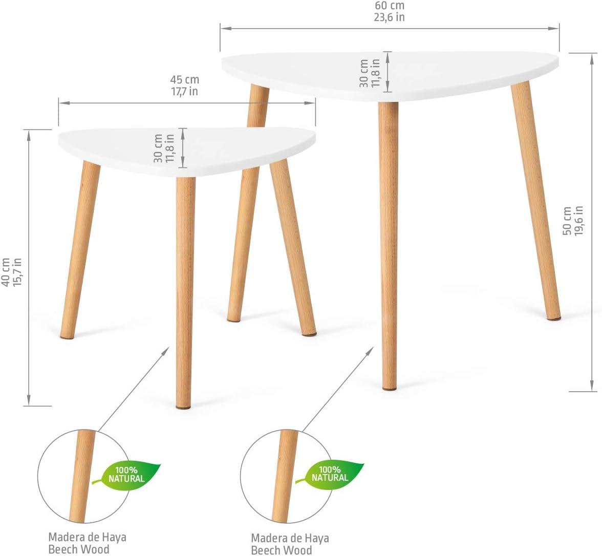 R/ésistantes Lot de 2 Tables Triangulaires Modernes Tables Gigognes Scandinaves Minimalistes COMIFORT Tables Basses Empilables Pieds en H/être 100/% Naturels Blanc et Ch/êne Sonoma