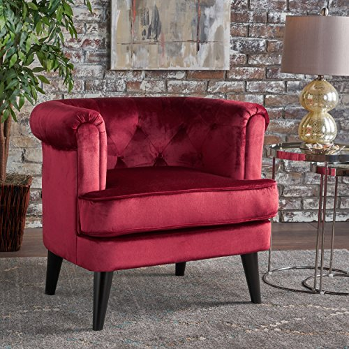 Miguel | Mid Century New Velvet Club Chair with Button-Tufted Accents | in Garnet