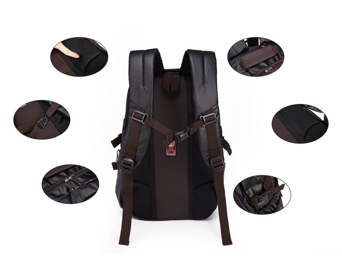 Maod Hombre Negocios Mochila Portátiles Estilo Retro mochilas escolares Cuero Bolsa de escuela Impermeable laptop backpack 15 (marrón): Amazon.es: ...