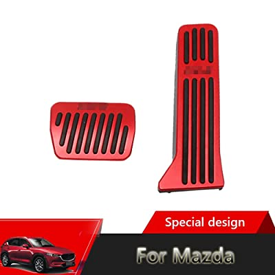 Great-luck aluminium alloy Pedal Covers,No Drilling Accelerator Pedals Brake Foot Pedal Pads with Rubber Pull Tabs 2 pieces/set(red) for Mazda 2 3 6 CX-3 CX-5 CX-9: Automotive