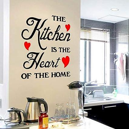 Zantec Adesivi frasi da parete in inglese Adesivo rimovibile di proverbio  per cucina - the kitchen is the heart of the home