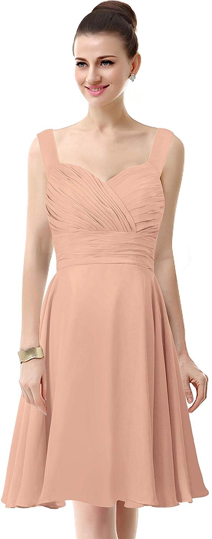 ThaliaDress Womens Chiffon Short Straps Bridesmaid Dresses Prom Gowns T283LF